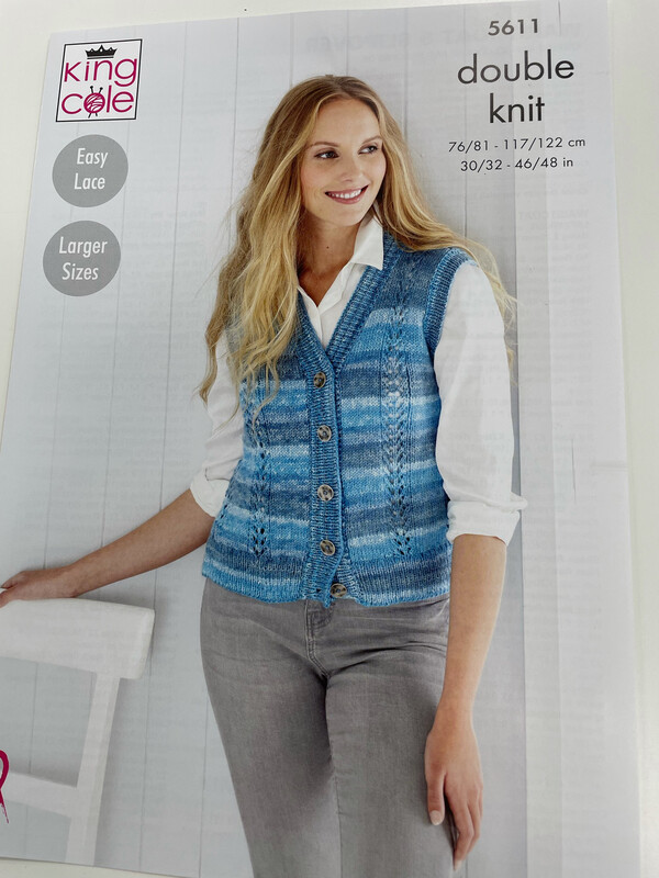 King Cole Waistcoat and Slipover Double Knit - Women's Pattern 5611