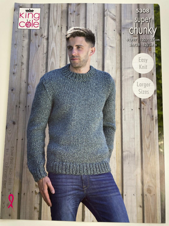 King Cole Man's Waistcoat & Round Neck Sweater - Super Chunky Men's Pattern 5308