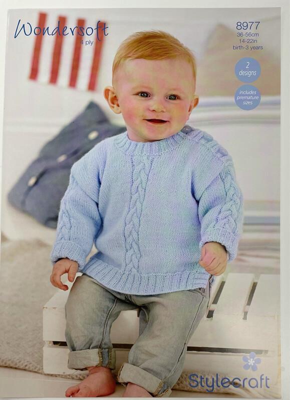 Stylecraft Sweater & Cardigan 4 Ply Baby Pattern 8977 - Sizes Prem to 6 months