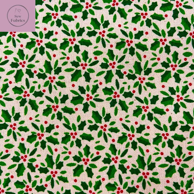 John Louden Cream Holly Scandi Christmas Print 100% Cotton, Xmas Material