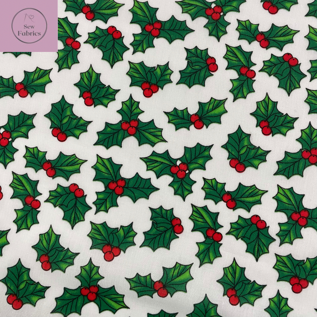 1 mtr x White Holly Christmas Print Polycotton Fabric, Novelty Festive Xmas Material