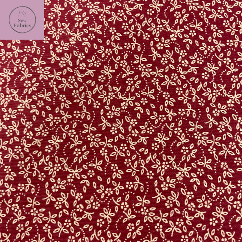 Claret Red 100% Cotton Ditsy Daisy Fabric