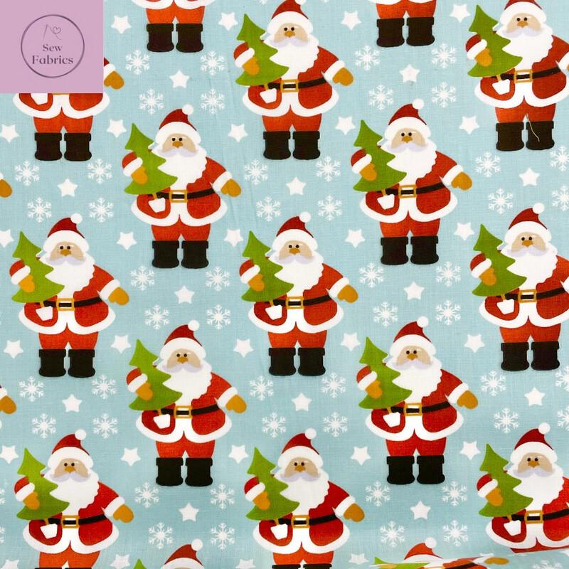 1 mtr x Santa's Snowy Day Christmas Print Polycotton Fabric, Novelty Festive Xmas Material
