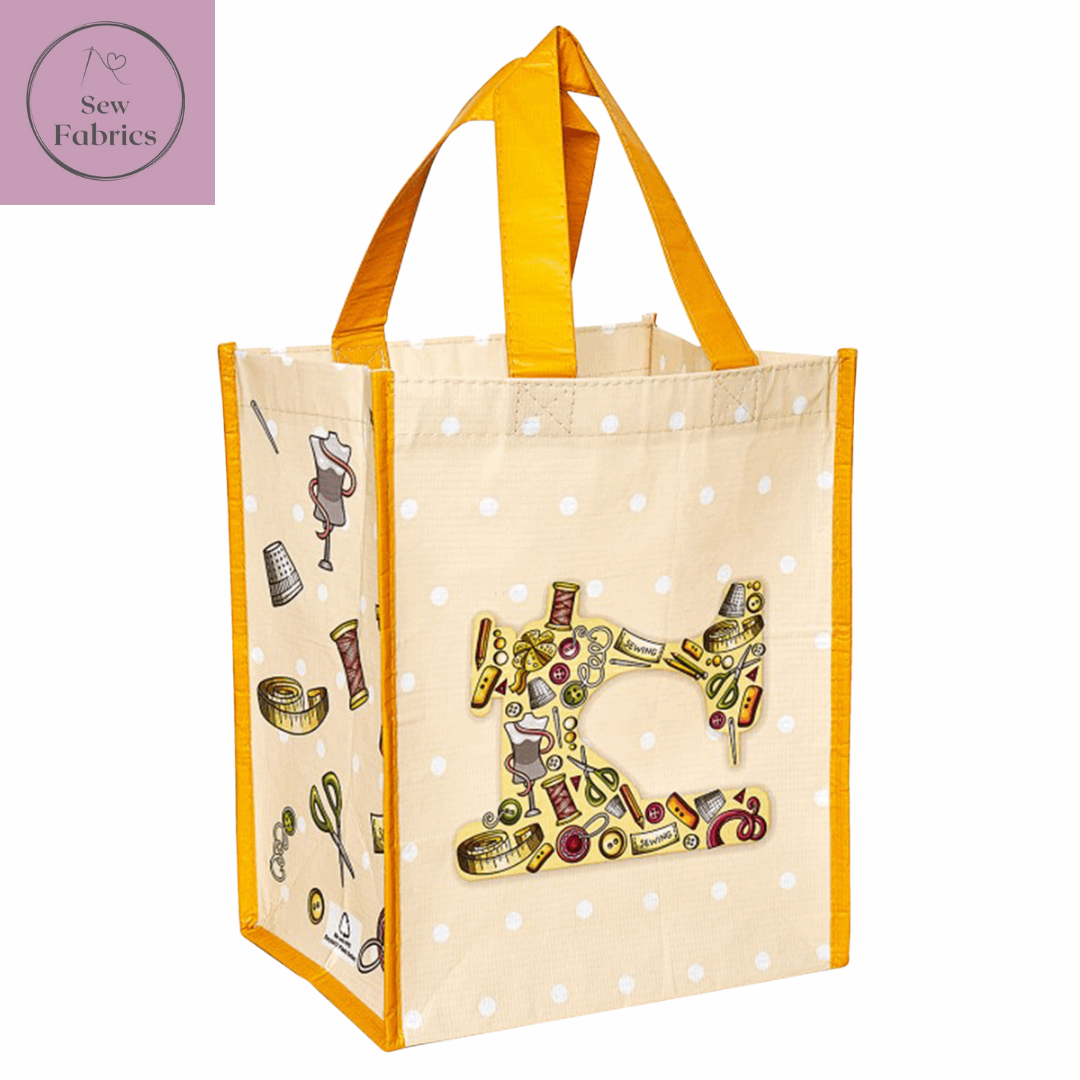 Reusable Tote Shopping Bag: 18 x 23.5 x 29cm: Notions in Cream and Yellow