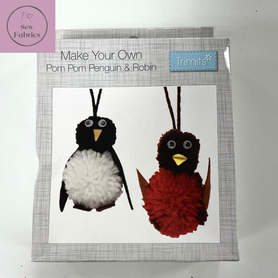 Make Your Own Pom Pom Penguin & Robin, Christmas Decorations Craft Kit
