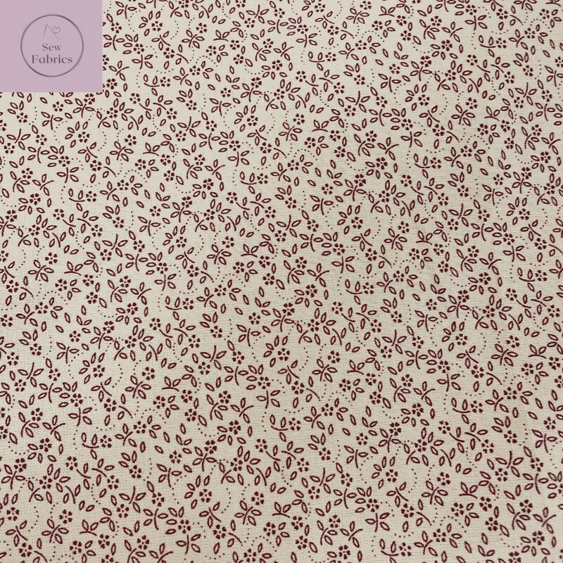Claret Red on Natural Background 100% Cotton Ditsy Daisy Fabric