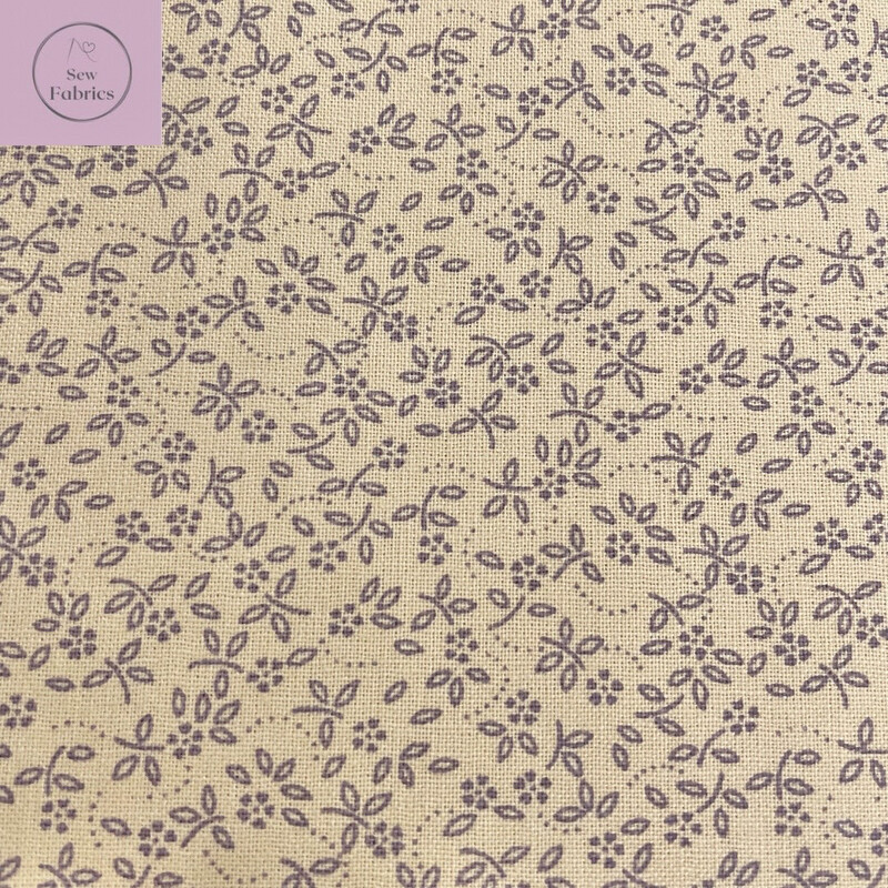 Mauve on Beige Background100% Cotton Ditsy Daisy Fabric