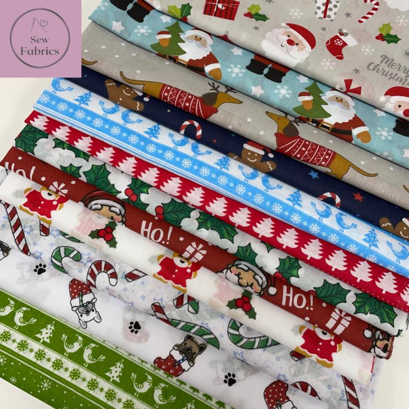 12 x Fat Quarter Christmas Bundle Novelty Print Polycotton Fabric, Xmas Material