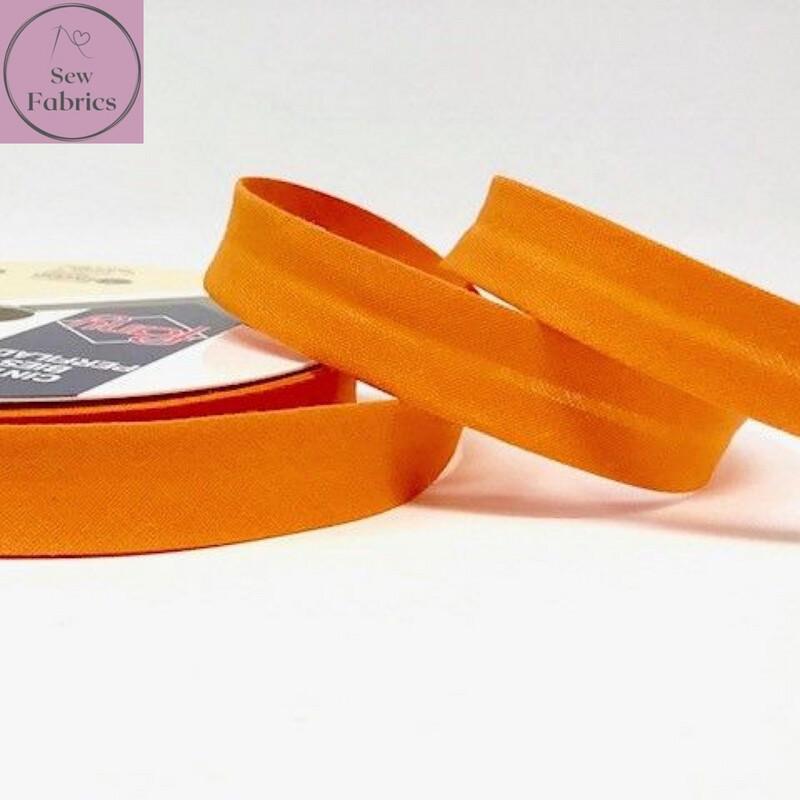 18mm Orange Plain Bias Polycotton Bias Binding