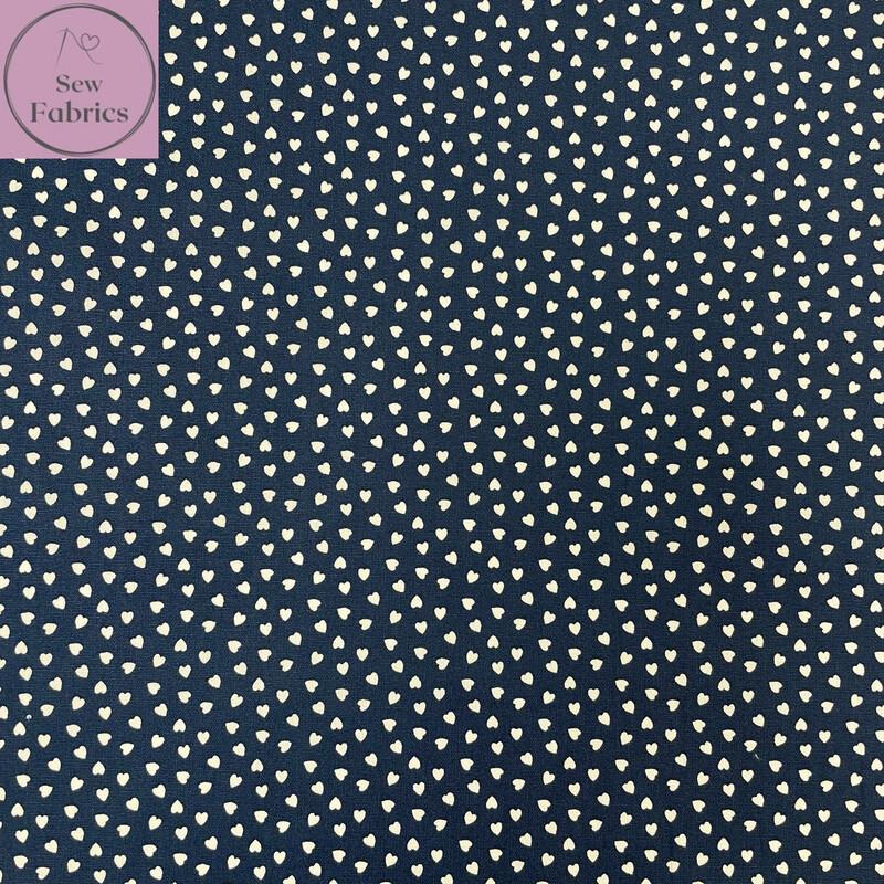 "Navy Ditsy Heart Fabric 100% Cotton Poplin, 56""/144cm Wide Width Love Heart Material"