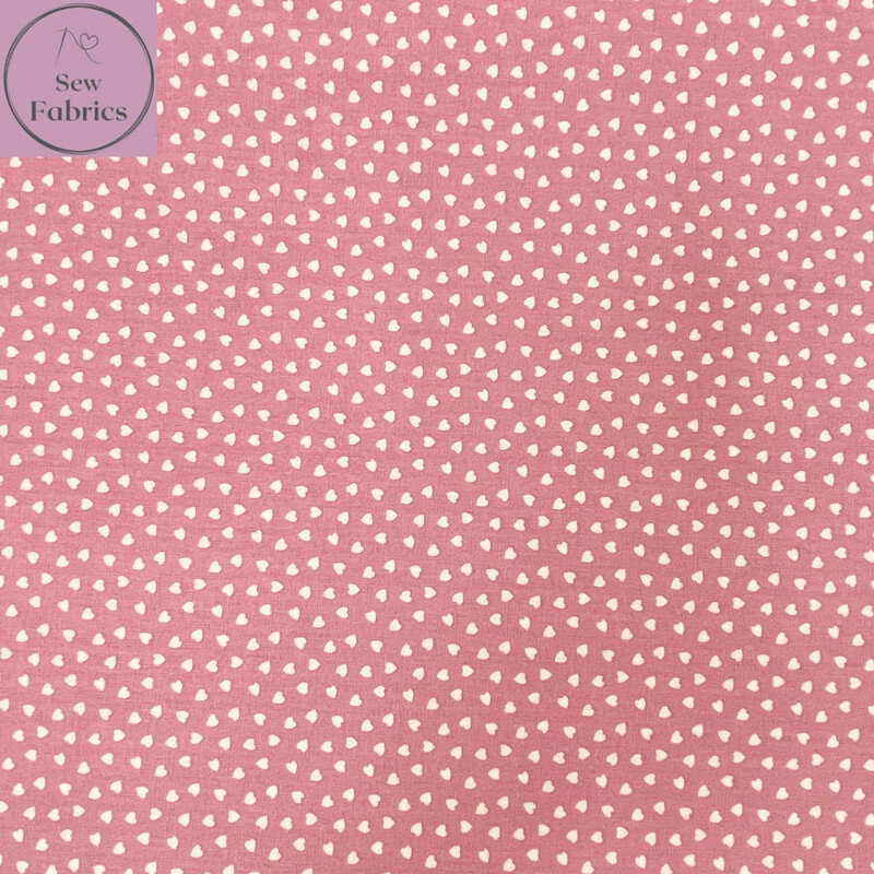 """Dusty Pink Ditsy Heart Fabric 100% Cotton Poplin, 56""""/144cm Wide Width Love Heart Material"""