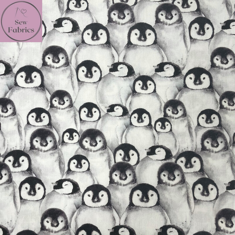 """Festive Penguin Design, The Little Johnny Collection Winter Christmas Fabric 100% Cotton 59"""" Wide Width"""
