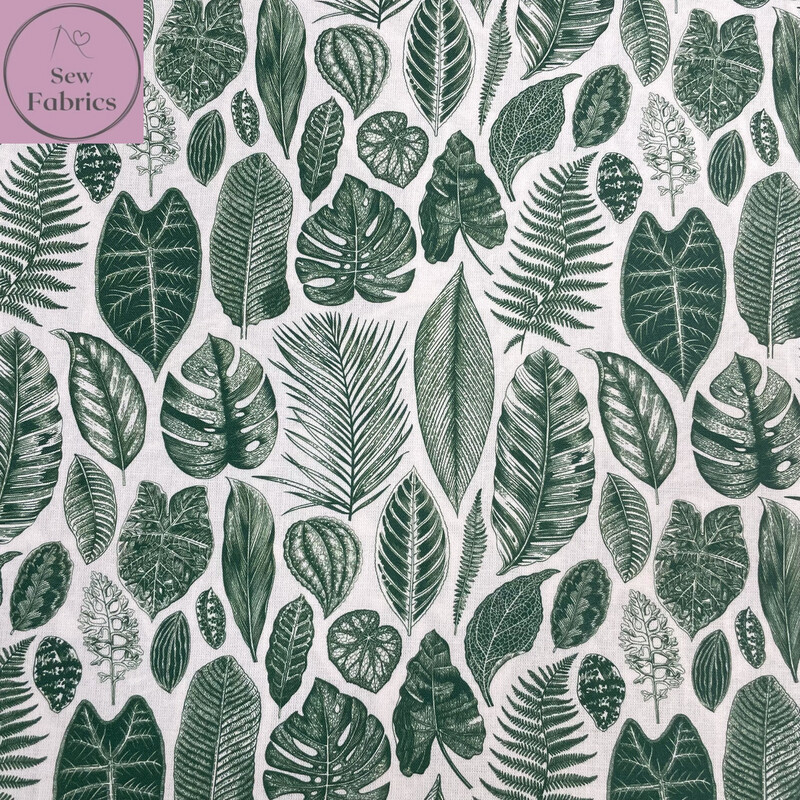 """Botanical Leaves Design, The Little Johnny Collection Winter Christmas Fabric 100% Cotton 58"""" Wide Width"""