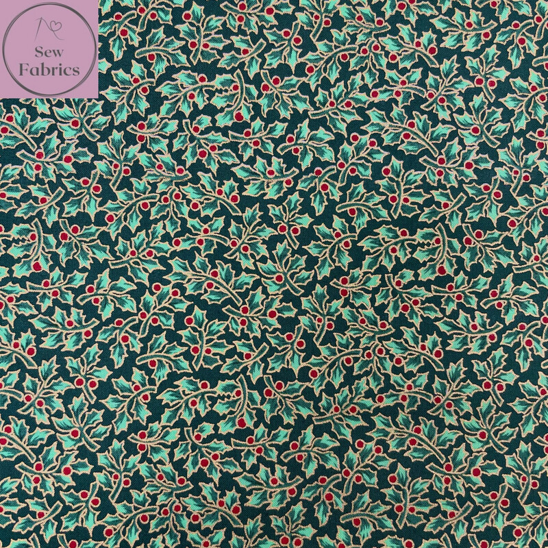 """Bottle Green Holly Berry Metallic Christmas Cotton 55""""/143cm Wide Width,  Xmas Material"""