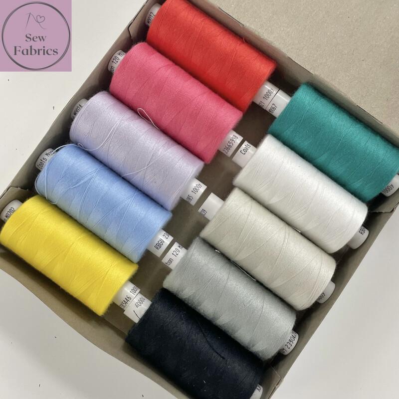 10 x 1000y Coats Moon Thread Box - Mixed Rainbow Sewing Threads