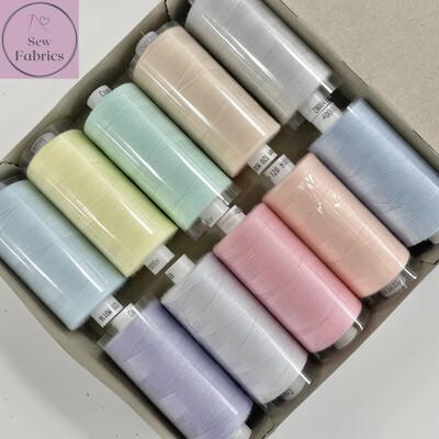 10 x 1000y Coats Moon Thread Box - Mixed Pastel Rainbow Sewing Threads