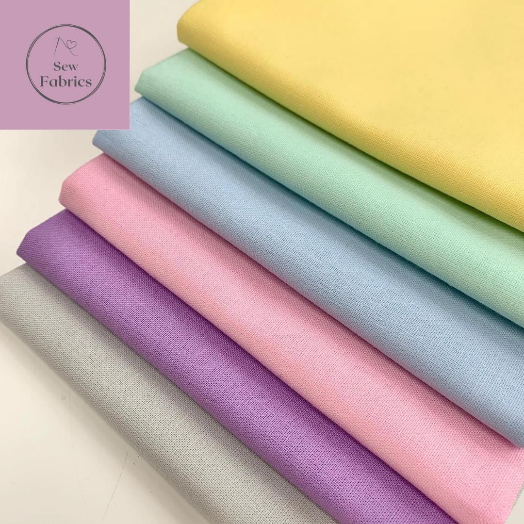 100% Craft Cotton Fabric Solid 6 Piece Fat Quarter Bundle, Pastel, Rainbow, Pink, Lilac, Blue, Green, Yellow, Grey