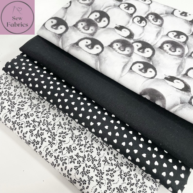 4 x Fat Quarter Bundle, Black Floral and Penguin Novelty 100% Cotton Fabric.