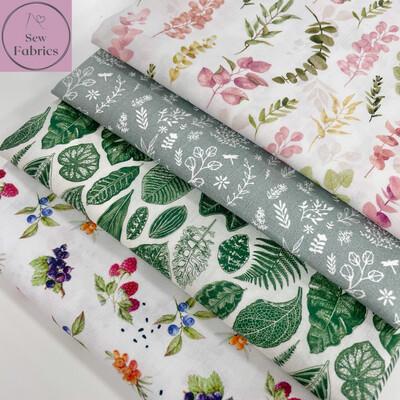 4 x Fat Quarter Bundle, John Louden Floral 100% Cotton Fabric.