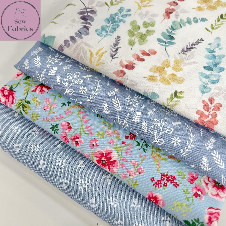 4 x Fat Quarter Bundle, Floral 100% Cotton Fabric.