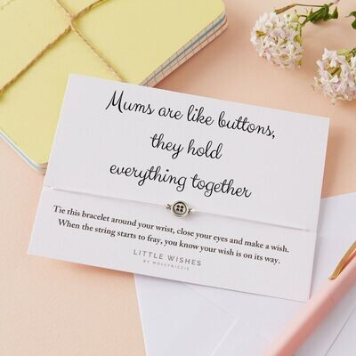 Mums Are Like Buttons Wish Bracelet Card Gift