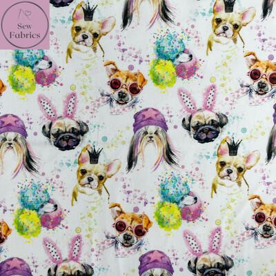 "John Louden Crazy Dogs 100% Cotton Fabric, 60""/150cm Width Material"