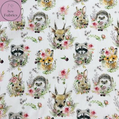 "John Louden Woodland Animals 100% Cotton Fabric, 60""/150cm Width Material"