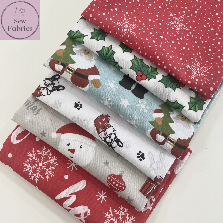6 x Fat Quarter Christmas Bundle Novelty Print Polycotton Fabric, Xmas Material