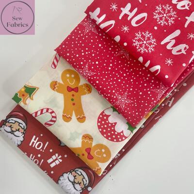 4 x Fat Quarter Christmas Bundle Novelty Print Polycotton Fabric, Xmas Material