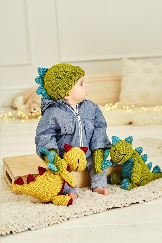 Stylecraft Special DK Pattern 9853 Danny the Dinosaur Toy with Hat & Mittens