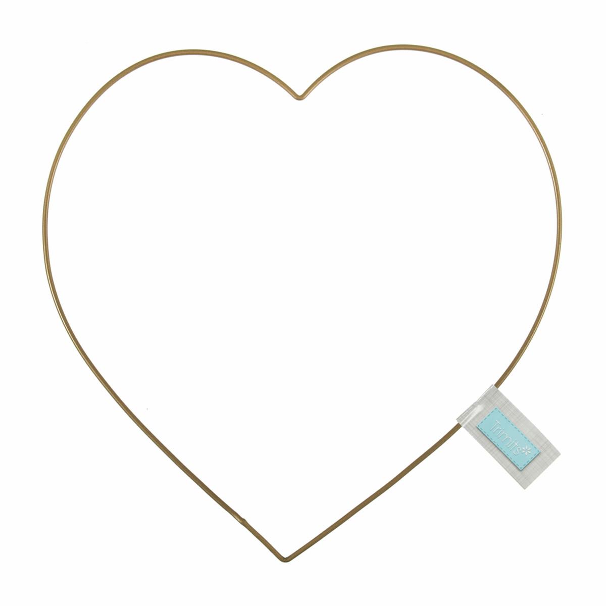 Craft Hoop Metal Heart Wire Frame 20cm Gold