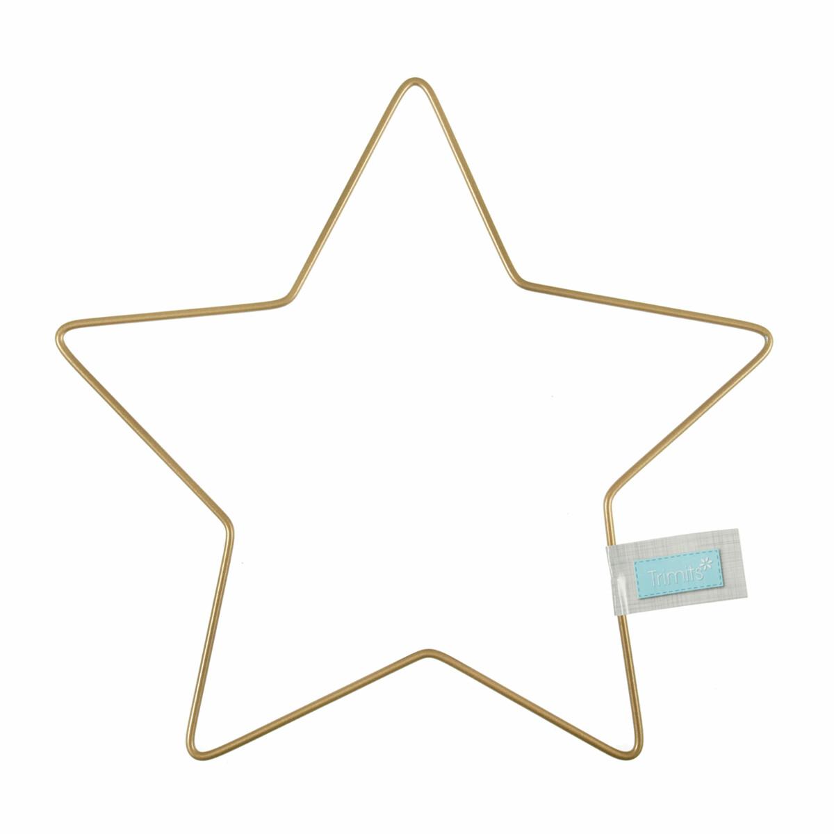 Craft Metal Star Wire Frame Hoop 20cm Gold