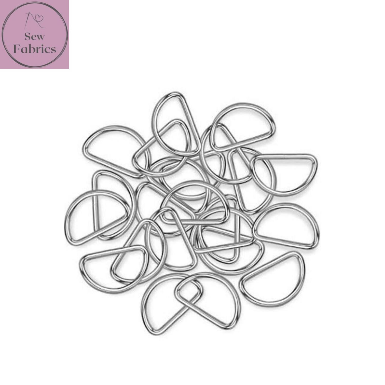 Silver 25mm Metal D Rings x 10