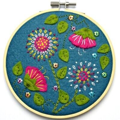 Felt Tropical Flowers Applique Hoop Kit by Corinne Lapierre