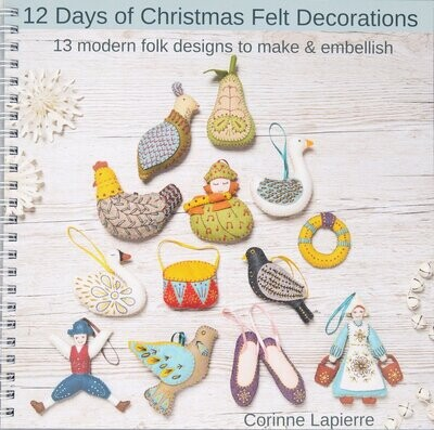 12 Days of Christmas Book and Wool Mix Felt Bundle by Corinne Lapierre