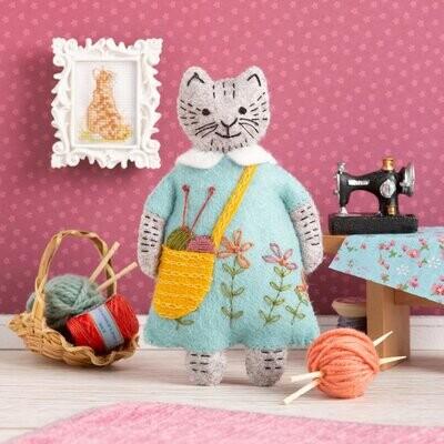 Mrs Cat Loves Knitting Felt Craft Kit by Corinne Lapierre