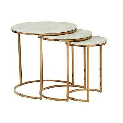 Round Marble Nest of 3 Tables