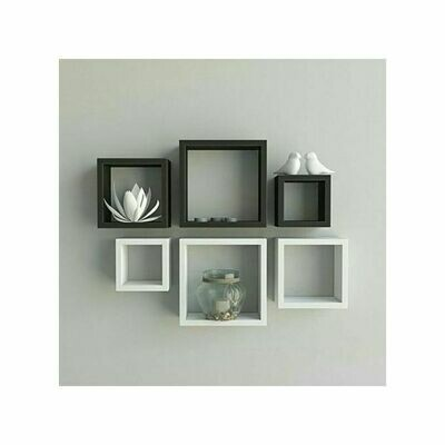 Modern Decor Boxes Shelf. Black And White - 6 Pcs