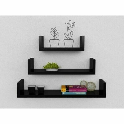 Decor U Shelf-Black 3 pcs