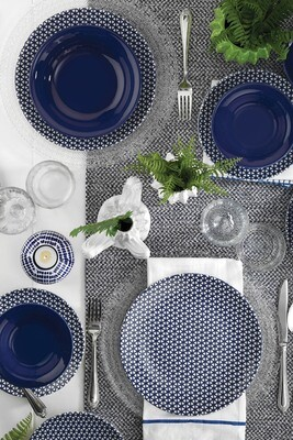 Kütahya Porcelain Nanoceram 24 Piece Dinner Set 89029 Navy Blue