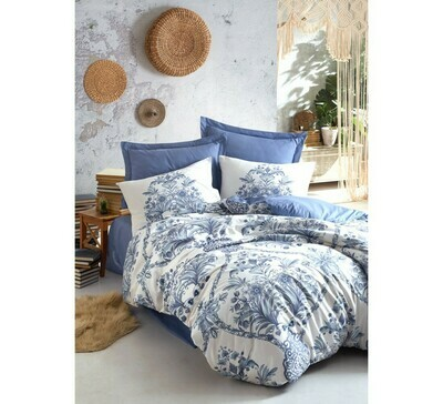 Bed Cover set 4-Piece Bohemian Egina Blue