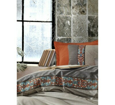 Bed Cover set 4-Piece Folk Art True Cinnamon, Cotton Box