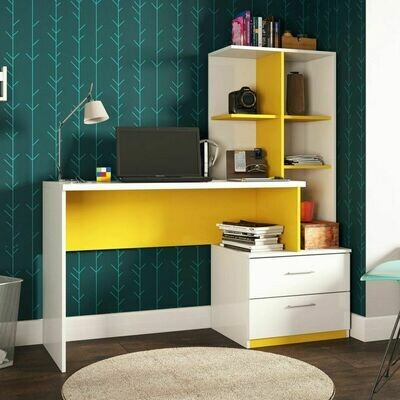 Poli Desk with Bookcase 2 Drawers