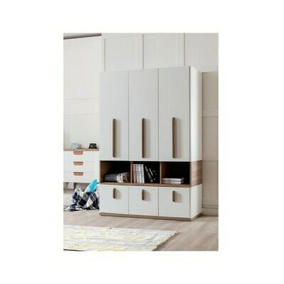 Modern Wardrobe white MDF & Brown Oak