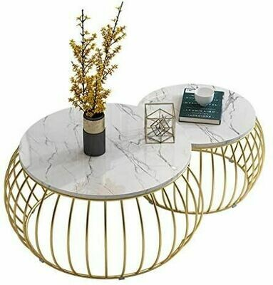 Mid Century Round Coffee Table Nesting Tables