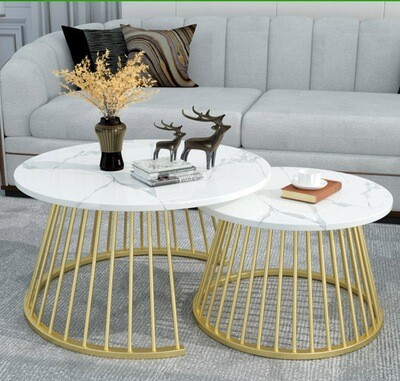 Amanda 2 Nesting Tables-Mid Century Round Coffee Table