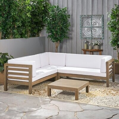 Patio Lounge Sets- Outdoor 3-Piece L-Shaped Sectional