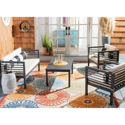 Santa Fe Slatted Outdoor- Set of 4 pieces Black