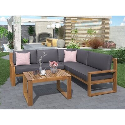 Majorca Lounge Sets- Outdoor 3-Piece L-Shaped Sectional