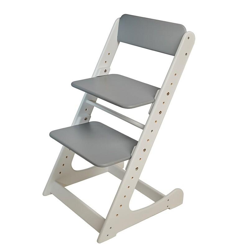 Растущий стул, бело-серый